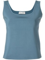 Dolce And Gabbana Vintage Square Neck Tank Blue