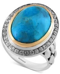 Turquesa By Effy Manufactured Turquoise 8 1 2 Ct. T.W. And White Sapphire 1 2 Ct. T.W. In Sterling Silver And 18K Gold Blue