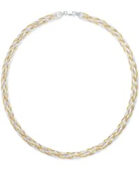 Giani Bernini Tri Tone Braided Collar Necklace In Sterling Silver With Gold Plated And Rose Gold Plated Sterling Silver Only At Macy's