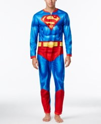 Briefly Stated Men's Superman Jumpsuit Pajamas With Cape Blue