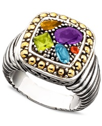 Effy Collection Balissima By Effy Multistone Square Ring 1 1 2 Ct. T.W. In 18K Gold And Sterling Silver