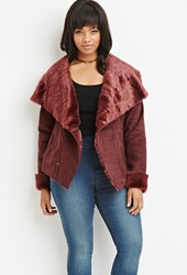 Forever 21 Plus Size Faux Fur Lined Coat Burgundy