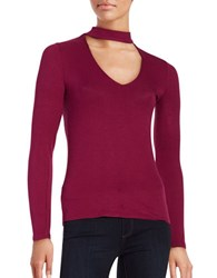 Design Lab Lord And Taylor Long Sleeve Cutout Knit Top Potion