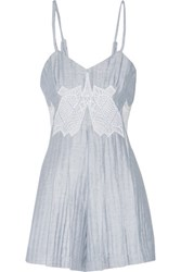 Jonathan Simkhai Pleated Embroidered Linen Blend Playsuit Sky Blue