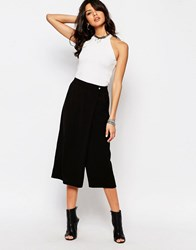 Noisy May Wrap Front Wide Crop Pant Black