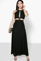 Boohoo Stud Trim Cutwork Tie Back Maxi Dress Black