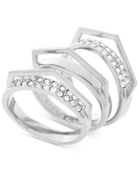 Vince Camuto Silver Tone 3 Pc. Set Stackable Pave V Rings