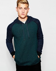 New Look Colour Block Marl Hoodie In Green Bottlegreen