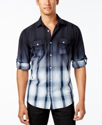 Inc International Concepts Men's Dip Dyed Cloudy Plaid Shirt Only At Macy's Basic Navy