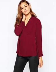 Asos Deep V Wrap Blouse With Open Back Detail Oxblood