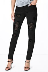 Boohoo Low Rise Lace Insert Skinny Jeans Black