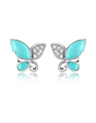 Del Gatto Diamond Gemstone Butterfly 18K Gold Earrings Turquoise