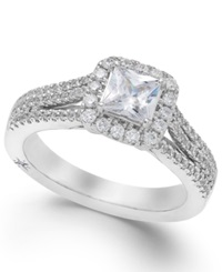 Celeste Halo By Marchesa Certified Diamond Split Shank Engagement Ring In 18K White Gold 1 1 5 Ct. T.W.