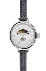 Shinola Women's 'The Birdy' Moon Phase Leather Strap Watch 34Mm