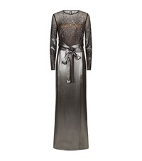 Escada Grilena Long Sleeve Sequined Gown Female Silver