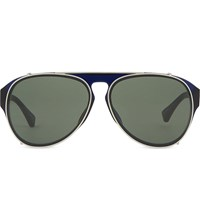 Dries Van Noten Dvn79 Clip On Aviator Sunglasses Blue And Matt Silver