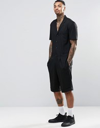 Asos Slim Smart Short Boiler Suit In Black Black