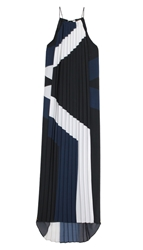 Tibi Maritime Border Striped Pleated Long Dress