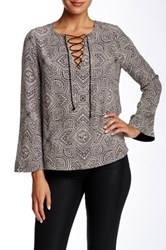 Twelfth St. By Cynthia Vincent Bell Sleeve Tie Blouse Multi