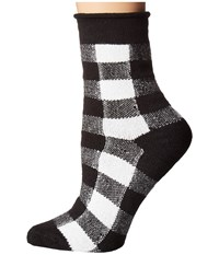 Plush Thin Rolled Fleece Socks Black White Plaid Women's Crew Cut Socks Shoes
