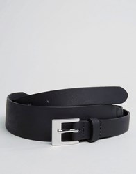 Asos Smart Skinny Leather Belt In Black With Retro Styling Black
