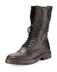Stanley Tall Lace Up Boot Black John Varvatos