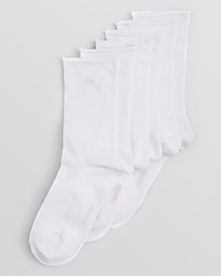 Calvin Klein Hosiery Combed Cotton Roll Top Socks Set Of 3 White