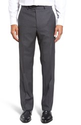 Santorelli Men's Flat Front Check Wool Trousers