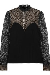 Marios Schwab Lace Trimmed Tulle And Crepe Top Black