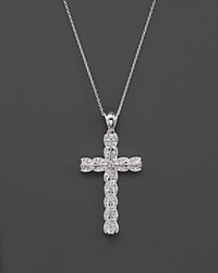 Bloomingdale's Diamond Vintage Inspired Cross Pendant Necklace In 14K White Gold .25 Ct. T.W.