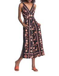 Plenty By Tracy Reese Floral Printed Flared Jumpsuit Orange Multi