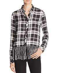 Aqua Fringed Plaid Shirt Black Grey