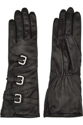 Agnelle Buckled Leather Gloves Black