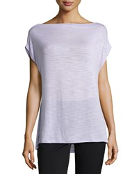 Halston Heritage Burnout Off The Shoulder Slub Knit Tee Frosted Lilac