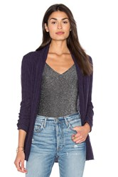 White Warren Cable Knit Cardigan Purple