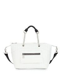 Neiman Marcus Linear Quilted Duffle Bag White
