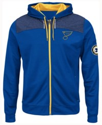 Majestic Men's St. Louis Blues Hashmarks Full Zip Hooded Jacket Royalblue