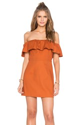 Kendall Kylie Ruffle Off Shoulder Dress Brown