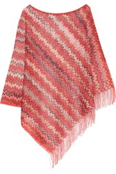 Missoni Fringed Crochet Knit Poncho Red