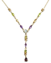 Victoria Townsend 18K Gold Over Sterling Silver Necklace Multistone And Diamond Accent Pear Drop Necklace