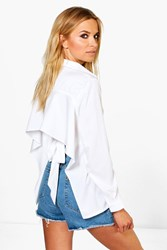 Boohoo Tie Detail Open Back Shirt White