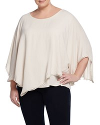 Cirana Plus Crochet Trim Poncho Off White