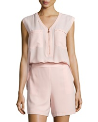Hilda B. Zip Front Short Jumpsuit Light Pink
