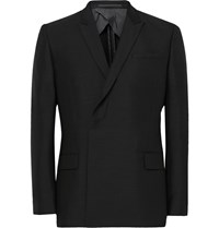 Kilgour Double Breasted Mohair And Wool Blend Blazer Black