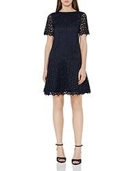 Reiss Mae Embroidered Lace Dress Night Navy