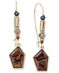 Inc International Concepts Gold Tone Brown Stone And Bead Wire Drop Earrings Only At Macy's