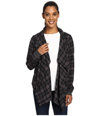 Columbia Simply Put Flannel Wrap Black Plaid Women's Sweater