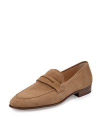 Gravati Suede Penny Loafer Taupe Brown Men's