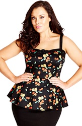 City Chic 'Strawberry Pie' Corset Top Plus Size Black