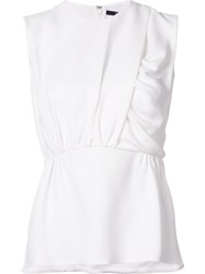 Derek Lam Gathered Front Sleeveless Blouse White